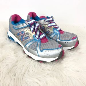 New Balance Silver Pink No Laces Athletic Sneakers